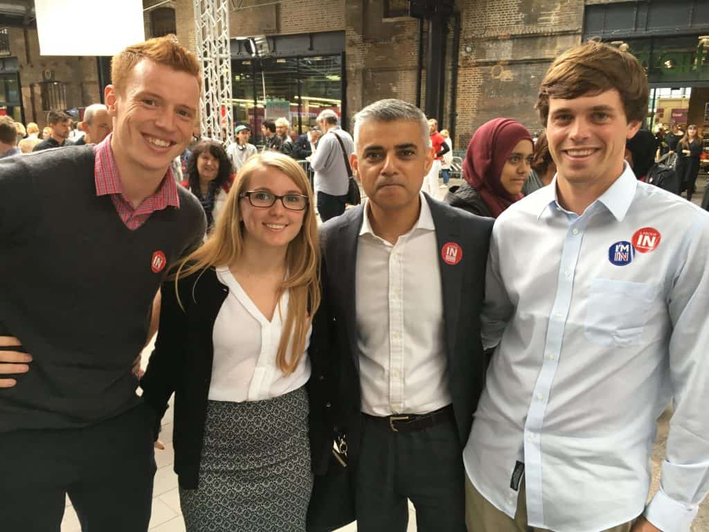 Gray Rixey '18 (far right) is pictured with London Mayor Sadiq Khan.