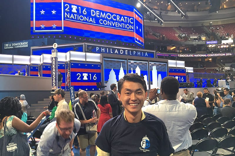 Steven Yeung on the Democratic Convention Floor.