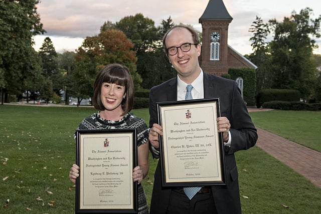 2016 Distinguished Young Alumni Award Winners Lyndsay Polloway '06 and Charlie Yates '06 receiving their awards on Friday, October 21 in Washington Hall.