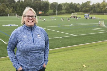 Ellen Mayock is the faculty mentor for the women's lacrosse team.