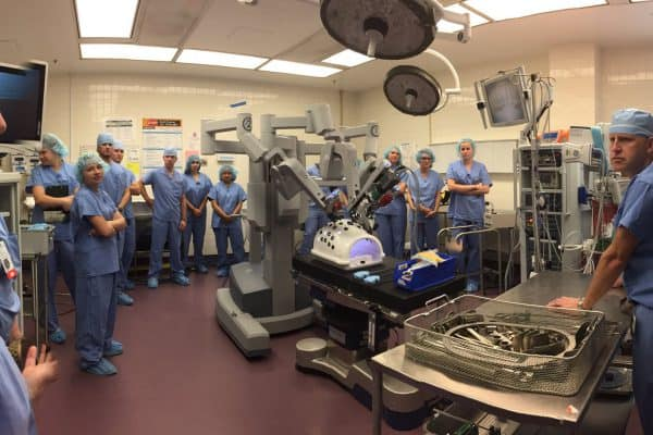 #wluCarrer Trips all scrubbed up and learning about robotic surgical instruments at Richmond's Retreat Hospital