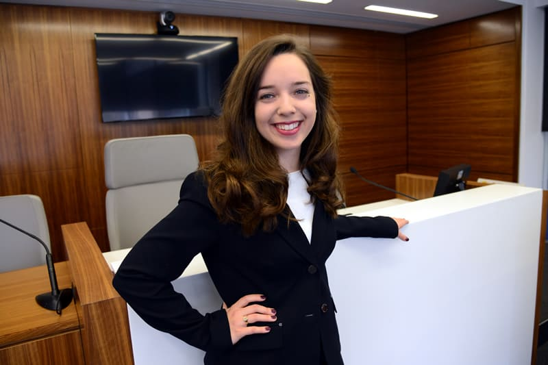 Stacey LaRiviere in W&L's new mock trail court room.