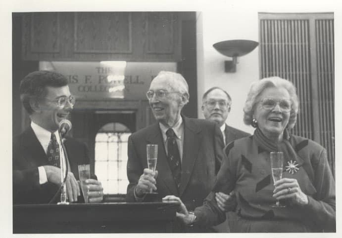 bezansonpowellrehnquistjopowell_powellarchivesdedication_april41992 Powell Archives at W&L Law Turns 25