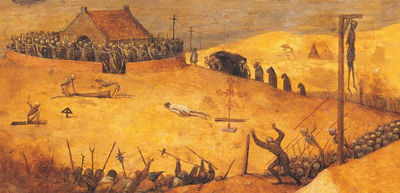 Fairfield's book cover art features The Triumph of Death by Pieter Bruegel the Elder