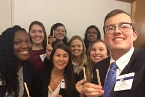 1Ls participating at the Equal Justice Works Conference on 10/27 (popsicle sticks = ticket to see Justice Ginsburg)