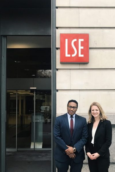Emily Kendall and Henok Gabisa outside the London School of Economics