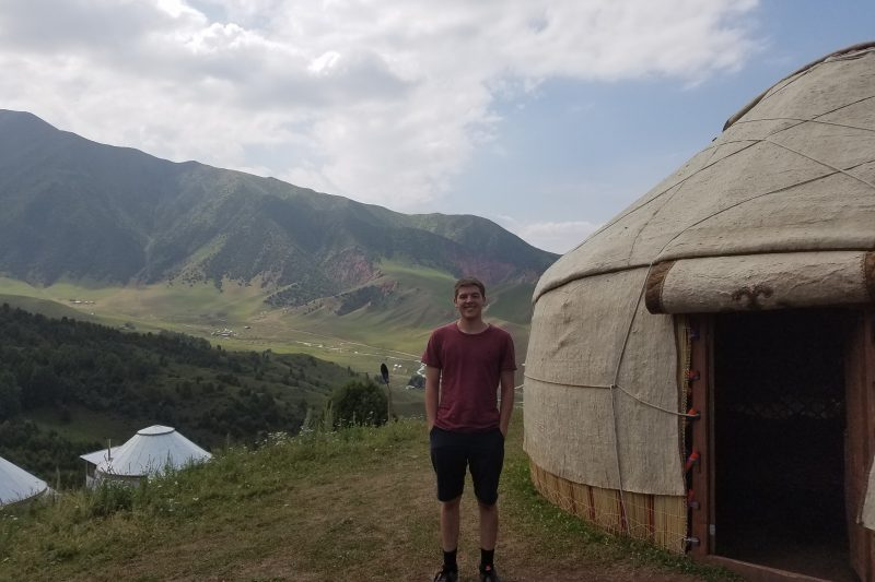Me-Next-to-Yurt-in-Mountains-800x533 Summer in Kyrgyzstan