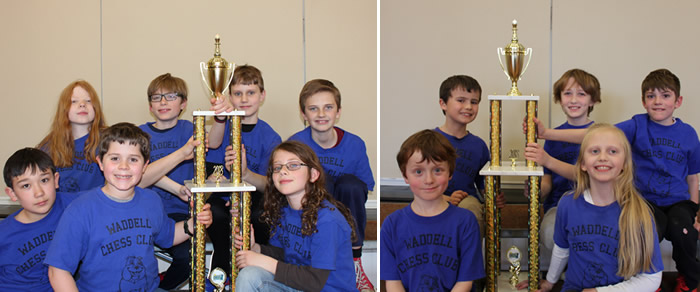 Members of the Waddell chess teams with their trophies from a recent competition.