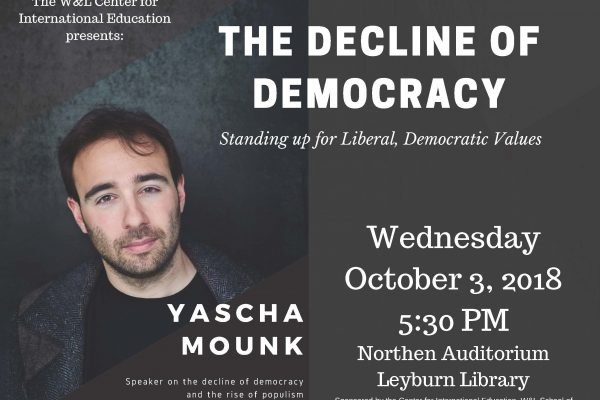 The-Decline-of-Democracy-600x400 W&L to Host Talk with 'One of the World's Principal Observers of Democracy'