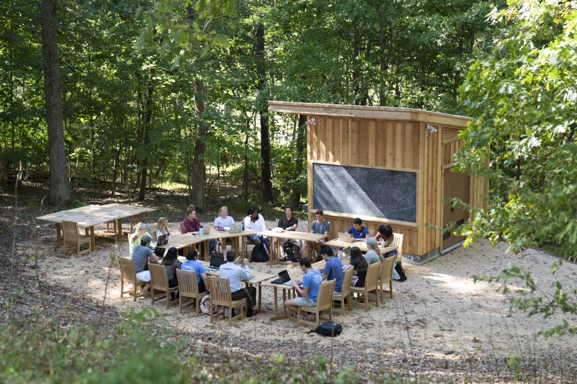 Paul Youngman's First-Year Experience class uses the new outdoor classroom.