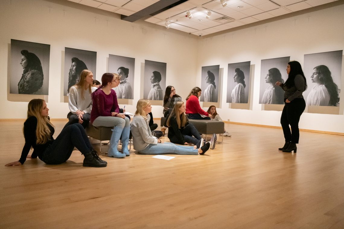 Artist discusses self-portraits with an Art History Class